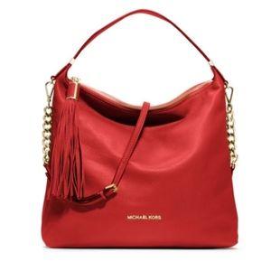 Michael Kors Bedford tassel red leather hobo bag